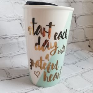 Grateful Heart Ceramic Travel Cup with Lid
